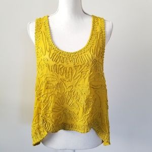 Free People Yellow/Mustard Crop Tank Cami Top L